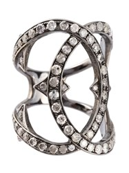 Loree Rodkin Double Loop Diamond Ring Metallic