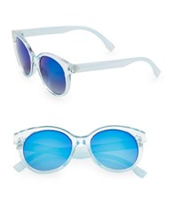 Sam Edelman 52Mm Round Vintage Sunglasses Blue