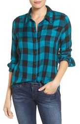 Lucky Brand Women's 'Bungalow Plaid' Button Back Shirt Turquoise Multi