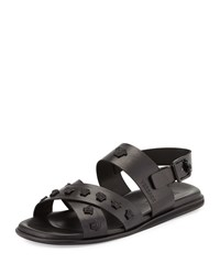 Versace Men's Leather Sandal With Me Black