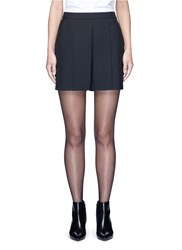 Alexander Wang Pleated Front Tailored Wool Blend Shorts Black