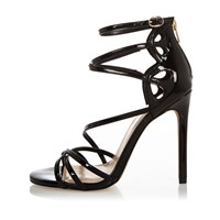 River Island Womens Black Patent Wide Fit Strappy Heels