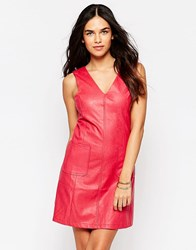 Girls On Film Faux Leather Dress Raspberry Pink