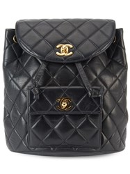 Chanel Vintage Quilted Chain Backpack Black