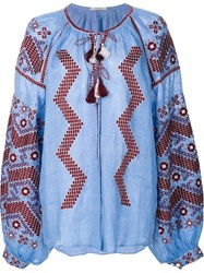 Vita Kin Embroidered Peasant Blouse Blue