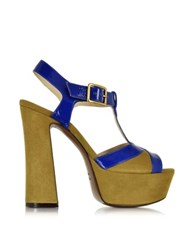 L'autre Chose Cobalt Blue Patent Leather And Green Pepper Suede Platform Sandal