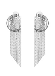 Venna Strass Pave Moon Fringe Drop Earrings Metallic