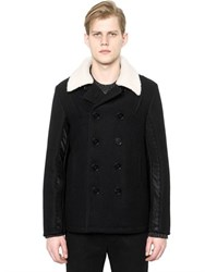 Maison Martin Margiela Wool Peacoat With Faux Fur Collar