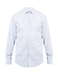 Massimo Alba Long Sleeved Pinstriped Cotton Poplin Shirt Light Blue