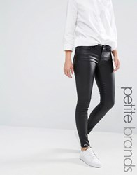 Noisy May Petite Eve Low Waist Super Slim Coated Jean Black