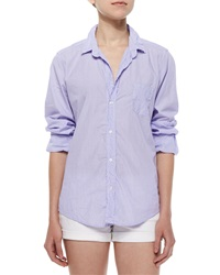 Frank And Eileen Barry Long Sleeve Pinstripe Cotton Shirt Blue White