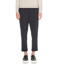 Brunello Cucinelli Slim Fit Mid Rise Wool Blend Trousers Navy