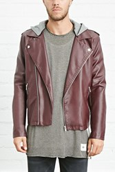 Forever 21 Hooded Faux Leather Moto Jacket