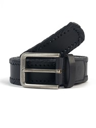 Pretty Green Garby Woven Leather Belt Navy