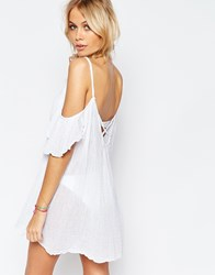 Asos Cheesecloth Cold Cross Back Beach Cover Up White