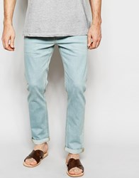 Asos Stretch Slim Jeans In Light Wash Light Blue