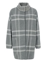 Basler Funnel Neck Wool Coat Grey