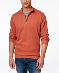 Weatherproof Quarter Zip Pullover Sweater Orange