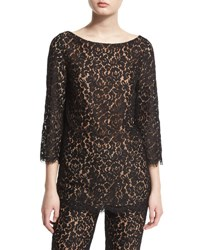 Michael Kors 3 4 Sleeve Floral Lace Top Black