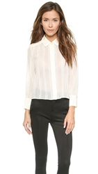7 For All Mankind Shirred Lace Cropped Blouse Cream