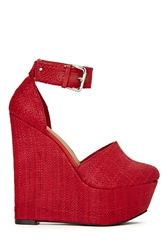 Nasty Gal Shoe Cult Palmilla Wedge Red