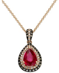 Effy Collection Red Velvet By Effy Ruby 1 Ct. T.W. Brown 1 8 Ct. T.W. And White Diamond 1 10 Ct. T.W. Pendant In 14K Rose Gold