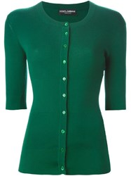 Dolce And Gabbana Ribbed Fitted Cardigan Green