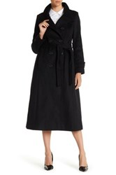 Dkny Double Breasted Long Wool Blend Military Coat Petite Black