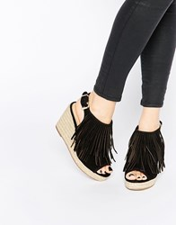Miss Kg Peyton Black Espadrille Wedge Heeled Sandals Black