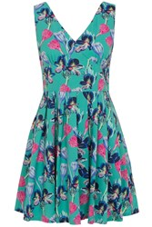 Wolf And Whistle Green Orchid Pleat Skirt Dress Multi Coloured