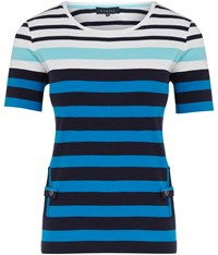 Viyella Striped Vertical Pocket T Shirt Turquoise