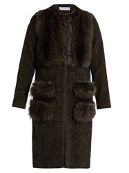 Ines And Marechal Alcyon Fur Panel Wool Blend Coat Grey Multi