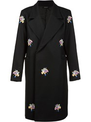 Christian Dada 'Sagan' Embroidered Double Breasted Coat Black