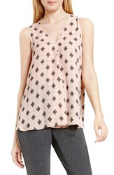 Vince Camuto Women's Drape Front V Neck Sleeveless Blouse Rosy Flush Filagree Foulard