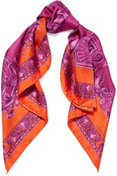 Versace Printed Silk Satin Twill Scarf Purple