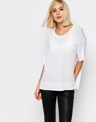 Selected Wille Knitted Split Side Sweater Snow White