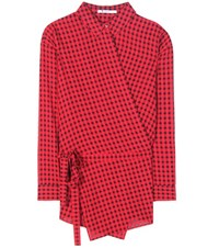 Alexander Wang Plaid Blouse Red
