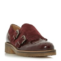 Dune Garland Crepe Sole Monk Shoes Burgundy