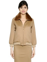 Max Mara Rabbit Fur And Camel Bomber Jacket