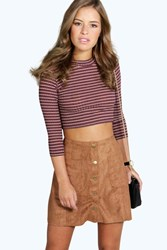 Boohoo Christina Suedette Button Through Mini Skirt Camel