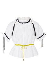 Azede Jean Pierre Ruched Collar Drawstring Blouse White