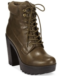 Xoxo Jonas Lace Up Platform Lug Booties Women's Shoes Olive