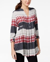 American Rag Printed Pintucked Button Front Blouse Only At Macy's
