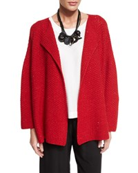 Eskandar Knit Cashmere Blend Cardigan Sweater Ruby