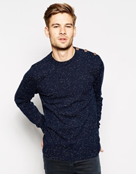 Blend Of America Blend Crew Knit Jumper Slim Fit Fleck Shoulder Button Navy