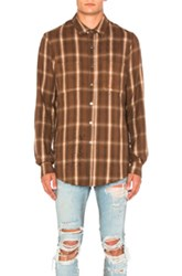 Amiri Shotgun Plaid Shirt In Brown Checkered And Plaid Brown Checkered And Plaid