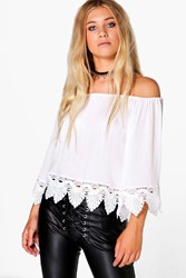 Boohoo Woven Crochet Hem Off The Shoulder Top White