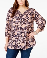Lucky Brand Jeans Plus Size Floral Print Peasant Shirt