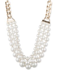 Anne Klein Gold Tone Imitation Pearl Multi Row Statement Necklace