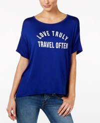 Retro Brand Love Truly Graphic T Shirt Blue